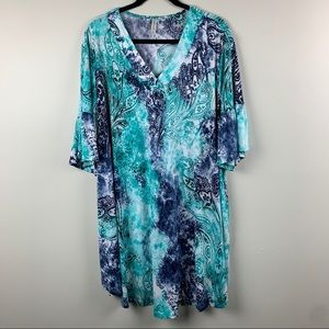 Emerald Blue Paisley Tunic Dress Bell Sleeve Sz 2X
